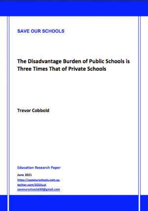 Cover of The Disadvantage Burden of Public Schools is Three Times That of Private Schools report